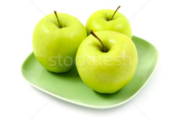Groene appels vruchten eten witte vers Stockfoto © martin33