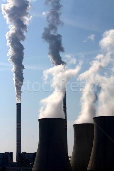 ストックフォト: 石炭 · 発電所 · 建物 · 技術 · 煙 · 青