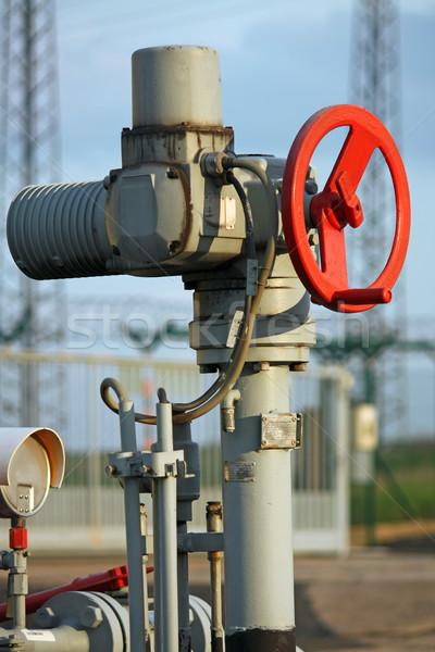 Pijpleiding ventiel industrie Rood industriële gas Stockfoto © martin33