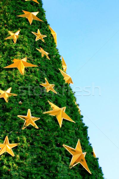 Kerstboom blauwe hemel groene star lichten vakantie Stockfoto © martin33
