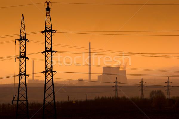 Paysage industriel centrale paysage bâtiment coucher du soleil industrie Photo stock © martin33
