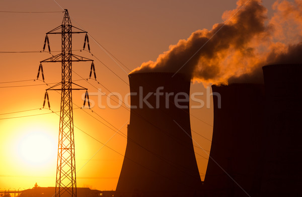 power plant at sunset Stock photo © martin33