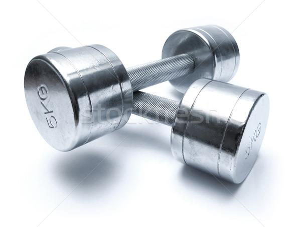 Haltères blanche fitness gymnase pouvoir ombre Photo stock © martin33