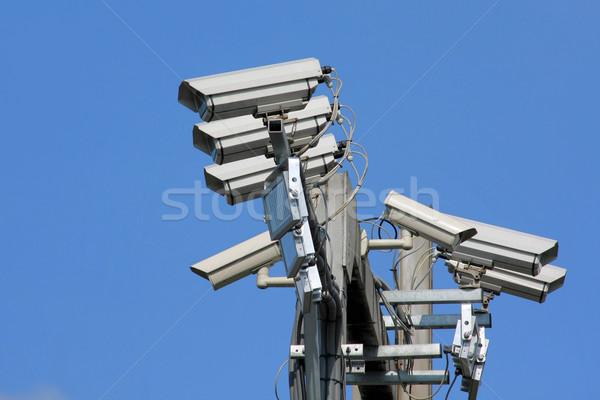 Verkeer camera oog technologie veiligheid Blauw Stockfoto © martin33