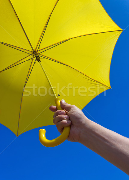 Geel paraplu blauwe hemel zomer Blauw kleur Stockfoto © martin33
