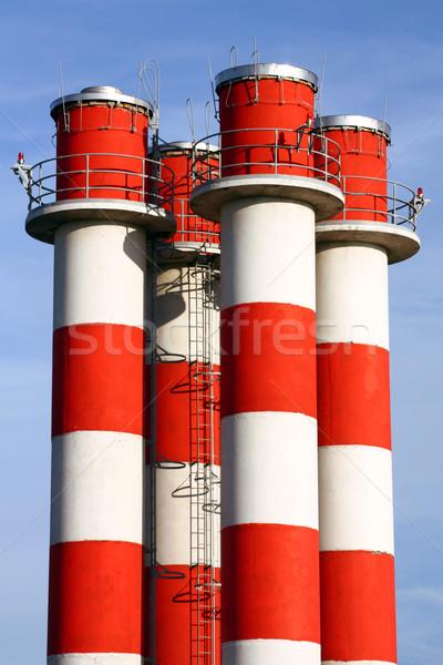 Stock fotó: égbolt · technológia · füst · kék · ipar · gyár