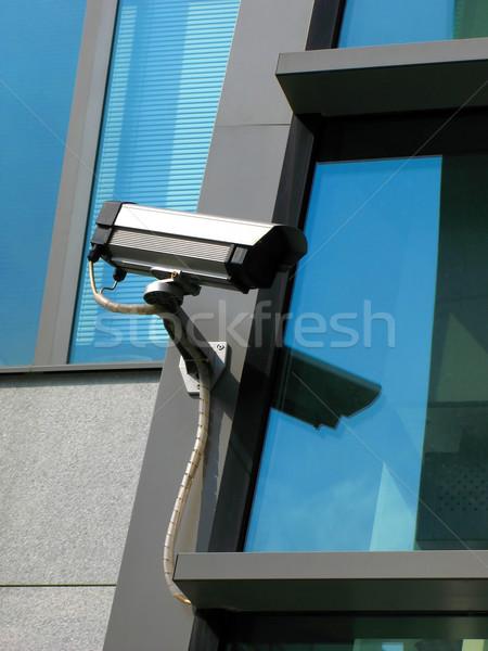 Güvenlik kamera teknoloji güvenlik turuncu mavi izlemek Stok fotoğraf © martin33