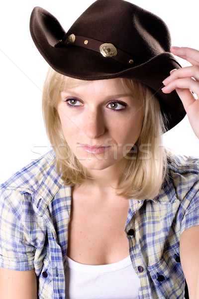 Stock photo: pretty western woman in cowboy hat