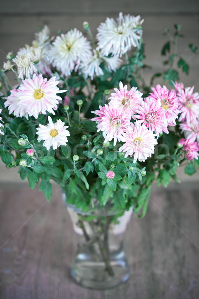 Klasszikus virágcsokor rózsaszín üveg váza kert Stock fotó © marylooo