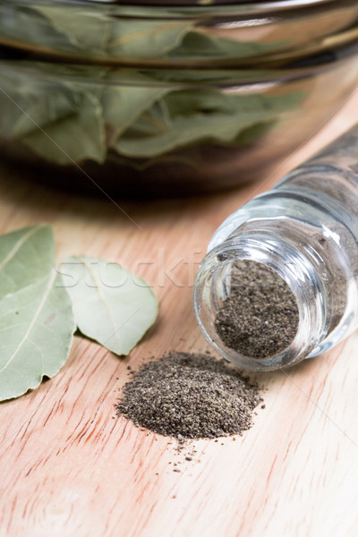 black pepper in shaker and bay leaves Stock photo © marylooo