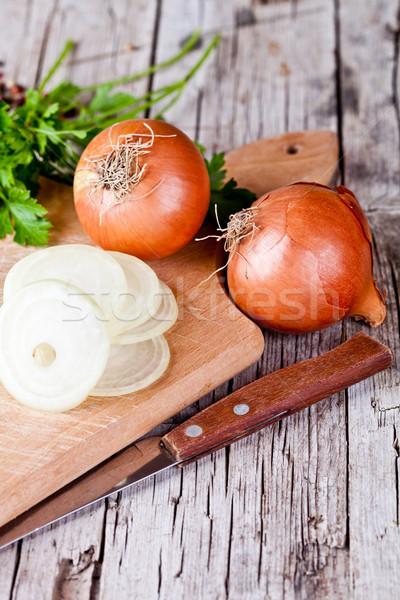fresh onions, knife, and parsley Stock photo © marylooo