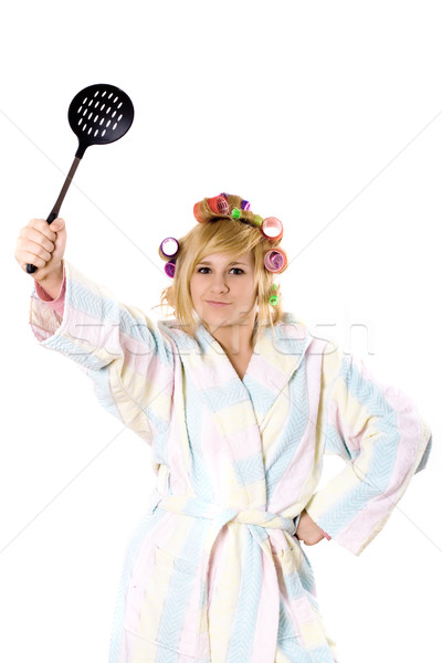 funny housewife with curlers and skimmer Stock photo © marylooo