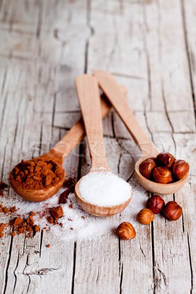 Azúcar polvo cucharas rústico Foto stock © marylooo