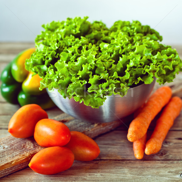 lettuce salad, tomatoes, bell pepper and carrots Stock photo © marylooo