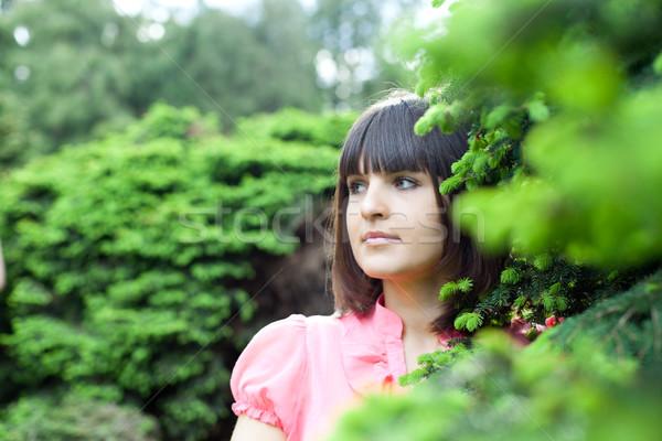 美しい 若い女性 森林 クローズアップ 肖像 女性 ストックフォト © marylooo