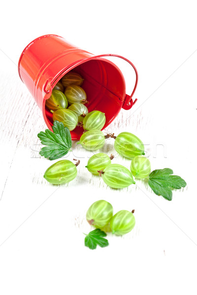 green gooseberry in metal bucket  Stock photo © marylooo