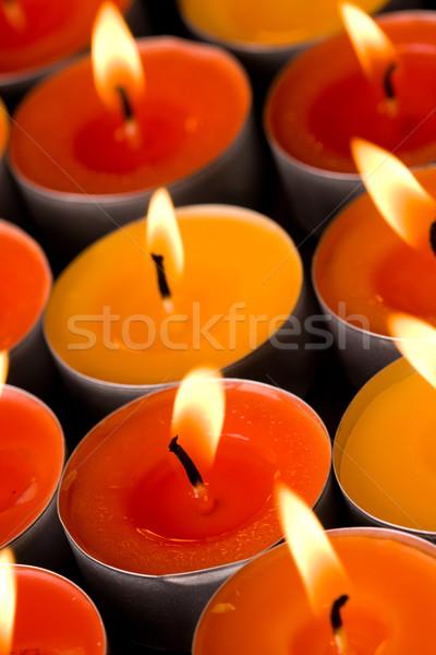 Foto stock: Chamejante · velas · escuro · fogo · grupo · vida