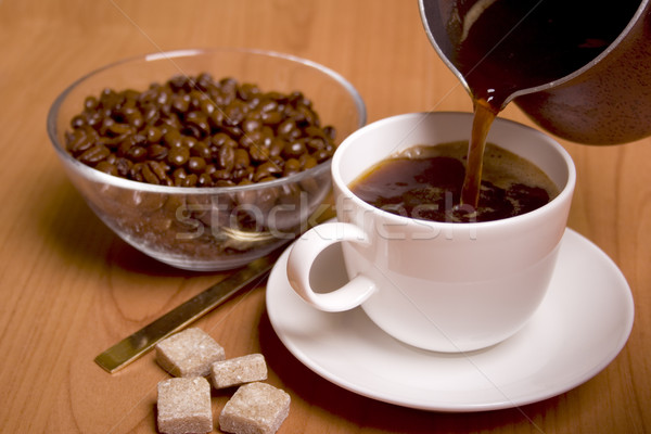 cup of coffee, sugar and beans Stock photo © marylooo