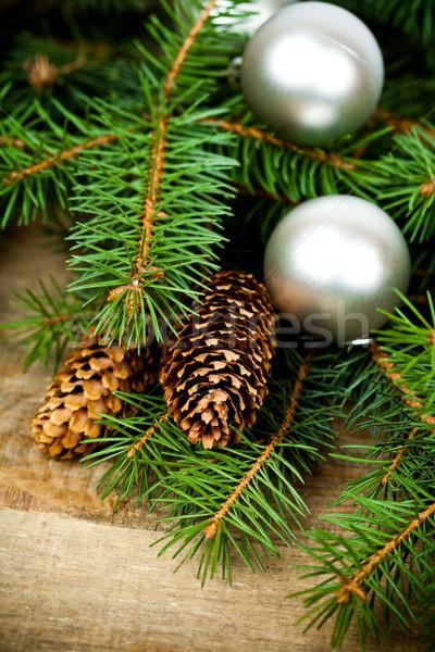 Karácsony fenyőfa dekoráció díszítések fa deszka természet Stock fotó © marylooo