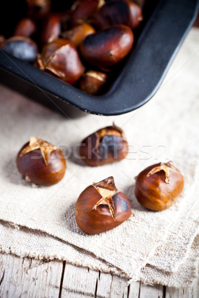 roasted chestnuts in a pan Stock photo © marylooo