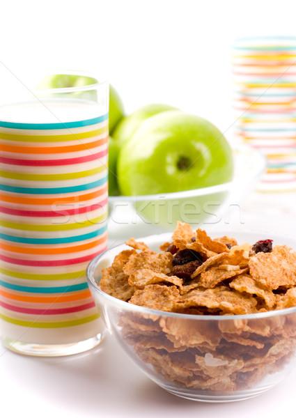 Saludable desayuno copos de maíz vidrio leche verde Foto stock © marylooo