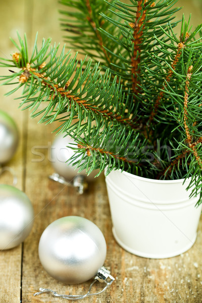 christmas fir tree and white decorations Stock photo © marylooo