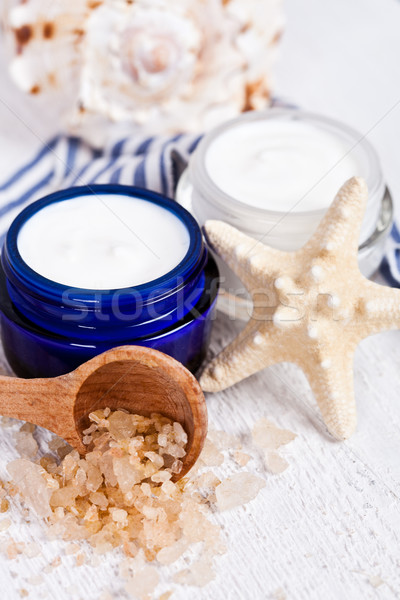 face cream and sea salt  Stock photo © marylooo