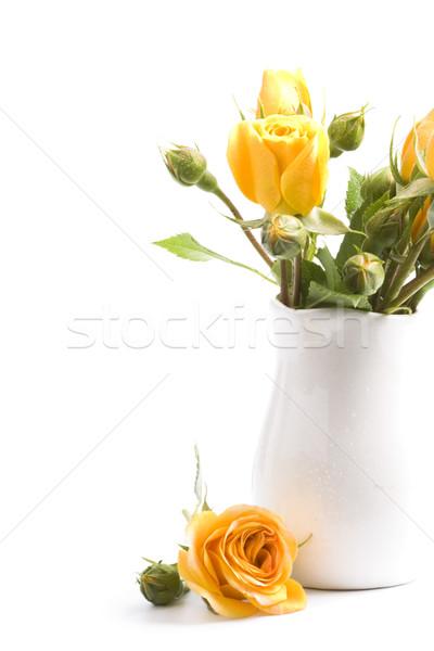 Flores amarillas ramo blanco flor primavera boda Foto stock © marylooo