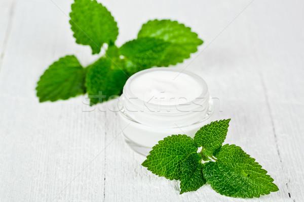 ガラス jarファイル 緑の葉 白 木製 ストックフォト © marylooo