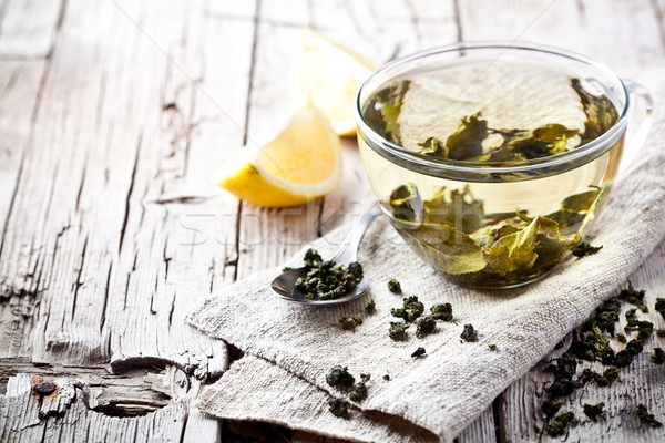 cup of green tea and lemon Stock photo © marylooo
