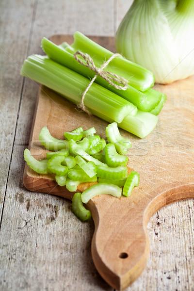 świeże organiczny seler koper drewna Zdjęcia stock © marylooo