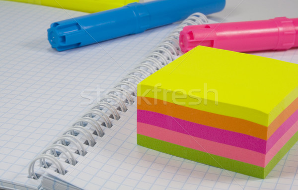 Stock photo: colored markers and notes
