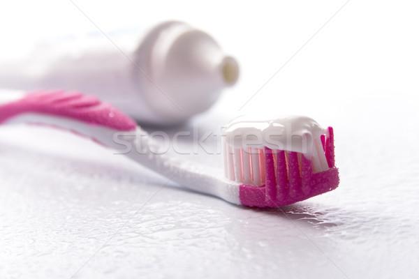 Fogkrém fogkefe fehér fogápolás szépség gyógyszer Stock fotó © marylooo