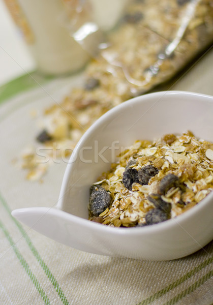 Tál tele müzli üveg tej egészséges Stock fotó © marylooo
