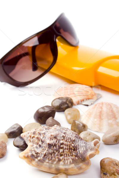 shells, sunglasses and lotion Stock photo © marylooo
