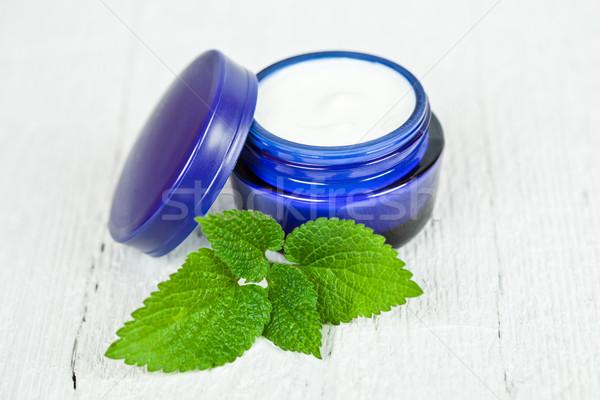 Crema hoja verde azul jar blanco Foto stock © marylooo