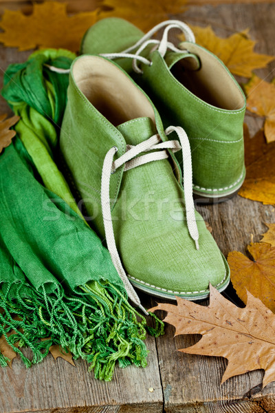 green leather boots, scarf and yellow leaves Stock photo © marylooo