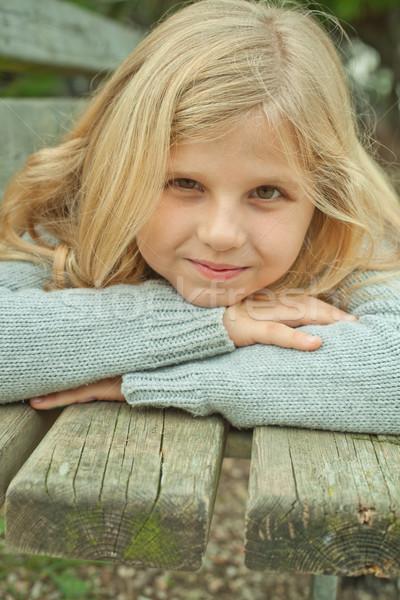 pretty girl on a bench  Stock photo © marylooo