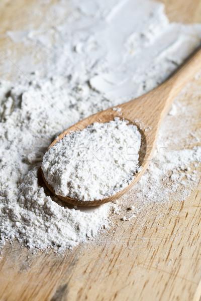 Mąka deska do krojenia drewna tle tablicy Zdjęcia stock © marylooo