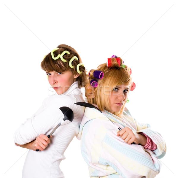 Utensile da cucina due divertente isolato bianco donna Foto d'archivio © marylooo
