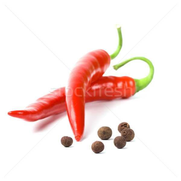 two red cayenne and black pepper Stock photo © marylooo