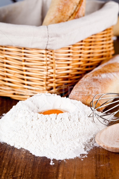 read, flour, eggs and kitchen utensil Stock photo © marylooo