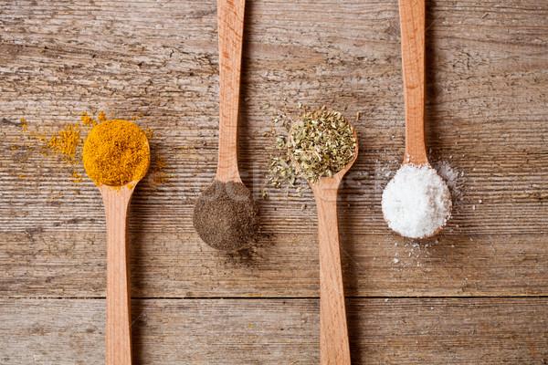 étriller poivre origan cuisson sel bois Photo stock © marylooo