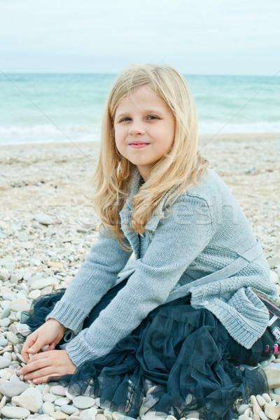 pretty girl at the autumn beach  Stock photo © marylooo