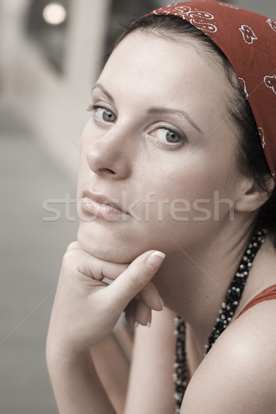unhappy woman in red kerchief Stock photo © marylooo