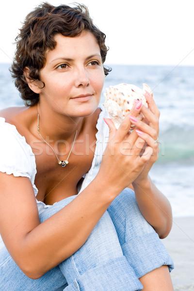 woman on seacoast Stock photo © marylooo
