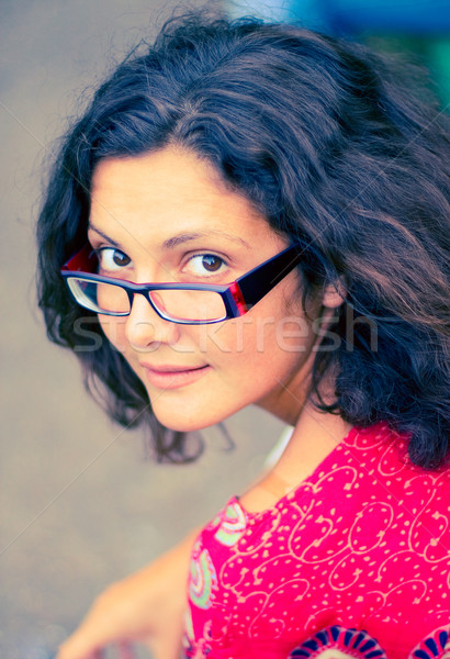 pretty brunet woman in glasses Stock photo © marylooo