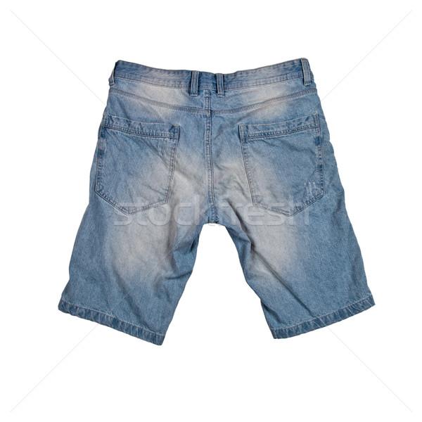 Dżinsy szorty odizolowany biały dziewczyna niebieski Zdjęcia stock © marylooo