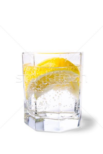 Stock photo: soda water and lemon slices