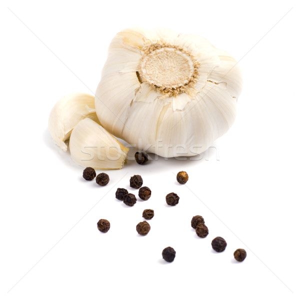Stock photo: garlic and black pepper
